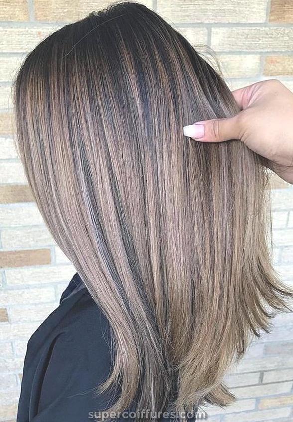 Varredura em cabelo castanho claro para cabelo escuro para cabelo escuro